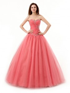 Sweetheart Sleeveless Quinceanera Gowns Floor Length Beading and Ruching Watermelon Red Tulle