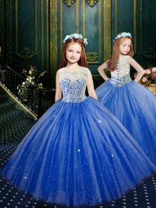Fashion Blue Ball Gowns Scoop Sleeveless Tulle Floor Length Clasp Handle Appliques Little Girl Pageant Dress