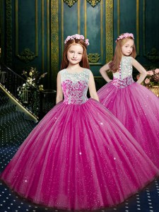 Eggplant Purple Ball Gowns Tulle Scoop Sleeveless Beading and Appliques Floor Length Clasp Handle Child Pageant Dress