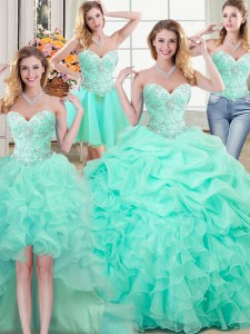 Four Piece Apple Green Quinceanera Dress Military Ball and Sweet 16 and Quinceanera and For with Beading and Ruffles and Pick Ups Sweetheart Sleeveless Lace Up