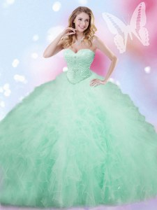 Nice Apple Green Tulle Lace Up Sweetheart Sleeveless Floor Length Quinceanera Dress Beading and Ruffles
