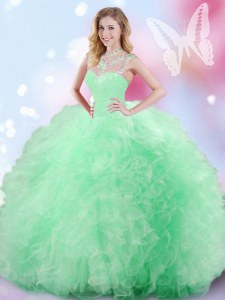 Decent Tulle High-neck Sleeveless Zipper Beading and Ruffles and Sequins Vestidos de Quinceanera in Apple Green