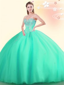Ball Gowns Quince Ball Gowns Apple Green Sweetheart Tulle Sleeveless Floor Length Lace Up