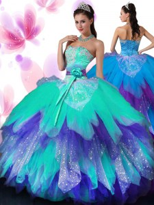 Modest Multi-color Tulle Lace Up Sweetheart Sleeveless Floor Length 15 Quinceanera Dress Appliques and Ruffled Layers and Hand Made Flower