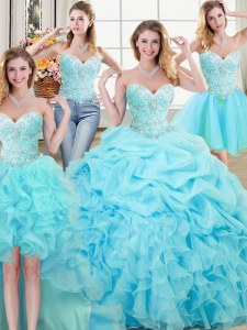Lovely Four Piece Aqua Blue Sleeveless Floor Length Beading and Ruffles and Pick Ups Lace Up 15th Birthday Dress