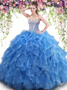 Noble Mermaid Sweetheart Sleeveless Quinceanera Dress Floor Length Beading and Ruffles Aqua Blue Organza