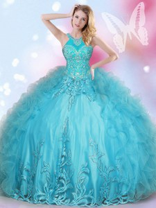 Halter Top Floor Length Lace Up Sweet 16 Dresses Aqua Blue for Military Ball and Sweet 16 and Quinceanera with Beading and Appliques