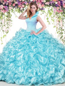 Aqua Blue Organza Backless Quinceanera Gowns Sleeveless Floor Length Beading and Ruffles