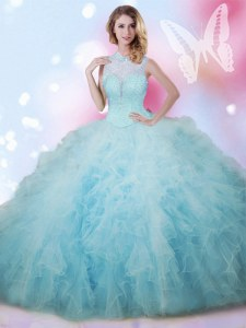 Smart Baby Blue Lace Up High-neck Beading and Ruffles Sweet 16 Dresses Tulle Sleeveless