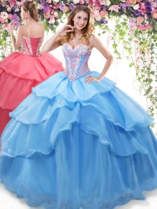 Floor Length Lace Up Sweet 16 Dress Baby Blue for Military Ball and Sweet 16 and Quinceanera with Beading and Ruffled Layers