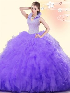 Backless Floor Length Lavender Ball Gown Prom Dress Tulle Sleeveless Beading and Ruffles