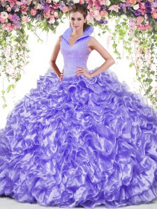 Shining Lavender High-neck Backless Beading and Ruffles Sweet 16 Dress Sleeveless