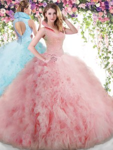 Nice Baby Pink Ball Gowns Tulle High-neck Sleeveless Beading and Ruffles Floor Length Backless 15th Birthday Dress