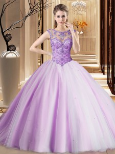 Custom Designed Scoop Sleeveless Tulle Brush Train Lace Up 15th Birthday Dress in Lavender with Beading
