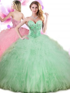 Apple Green Quinceanera Gown Military Ball and Sweet 16 and Quinceanera and For with Beading and Ruffles and Pick Ups Sweetheart Sleeveless Lace Up