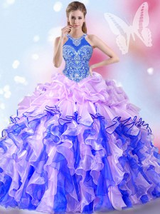 Pick Ups Floor Length Multi-color Quinceanera Gowns Halter Top Sleeveless Lace Up