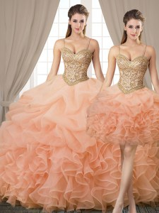 Excellent Three Piece Spaghetti Straps Sleeveless Organza Vestidos de Quinceanera Beading and Ruffles and Pick Ups Lace Up