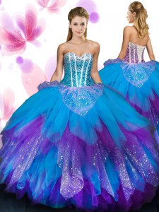 Beading and Ruffled Layers Quince Ball Gowns Multi-color Lace Up Sleeveless Floor Length