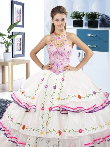 Fantastic Halter Top Sleeveless Embroidery and Ruffled Layers Lace Up Sweet 16 Dresses