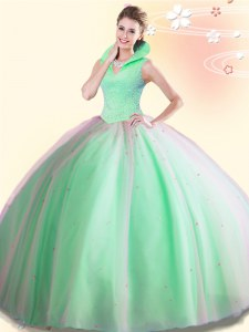 Backless Floor Length Quinceanera Gown Tulle Sleeveless Beading