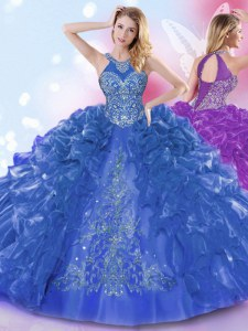 Luxurious Ruffled Ball Gowns Quinceanera Dress Royal Blue Halter Top Organza Sleeveless Floor Length Lace Up