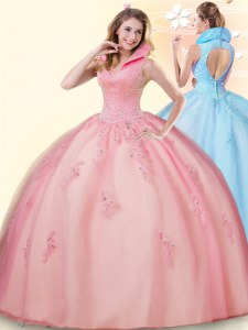 Suitable Ball Gowns Sweet 16 Dress Pink High-neck Tulle Sleeveless Floor Length Backless