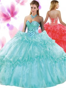 Simple Pick Ups 15 Quinceanera Dress Aqua Blue Lace Up Sleeveless Floor Length