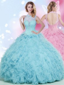 Traditional Baby Blue Lace Up Quinceanera Gowns Beading and Ruffles Sleeveless Floor Length