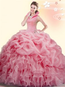 Backless High-neck Sleeveless Sweet 16 Dresses Brush Train Beading and Ruffles and Pick Ups Watermelon Red Organza
