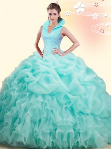 Cheap Backless Organza Sleeveless Quinceanera Gown Brush Train and Beading and Ruffles and Pick Ups