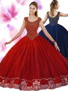 Amazing Scoop Sleeveless Ball Gown Prom Dress Floor Length Beading and Appliques Wine Red Tulle