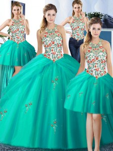 Four Piece Halter Top Floor Length Turquoise 15 Quinceanera Dress Tulle Sleeveless Embroidery and Pick Ups