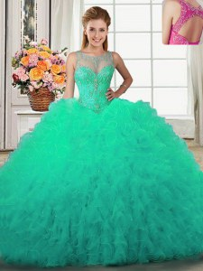 Custom Design Scoop Sleeveless Ball Gown Prom Dress Floor Length Beading and Ruffles Turquoise Tulle