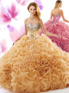 Champagne Sweet 16 Quinceanera Dress Organza Court Train Sleeveless Beading and Ruffles