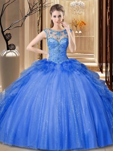 Scoop Ruffles Sweet 16 Quinceanera Dress Blue Lace Up Sleeveless Floor Length