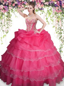 Fantastic Organza Sleeveless Floor Length Quince Ball Gowns and Beading and Ruffled Layers and Pick Ups