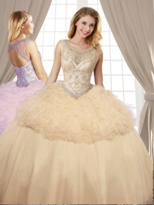 Scoop Champagne Lace Up 15th Birthday Dress Beading and Ruffles Sleeveless Floor Length