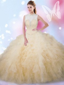 Amazing Sleeveless Beading and Ruffles Lace Up Quinceanera Dresses