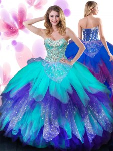 Charming Beading and Ruffles Sweet 16 Dresses Multi-color Lace Up Sleeveless Floor Length