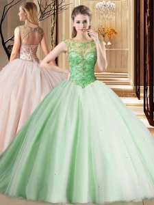 Fitting Scoop Sleeveless Brush Train Lace Up Beading 15 Quinceanera Dress
