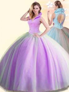 Low Price Lilac Tulle Backless Quince Ball Gowns Sleeveless Floor Length Beading