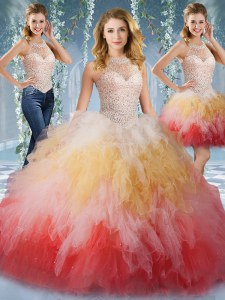 Extravagant Halter Top Sleeveless Tulle Quinceanera Gowns Beading and Ruffles Lace Up