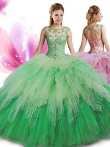 Designer Tulle Scoop Sleeveless Zipper Beading and Ruffles Quinceanera Dresses in Multi-color