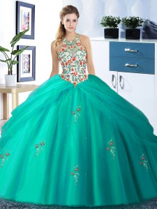 Turquoise Tulle Lace Up Halter Top Sleeveless Floor Length Quinceanera Dresses Embroidery and Pick Ups
