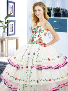 White Ball Gowns Sweetheart Sleeveless Organza and Taffeta Floor Length Lace Up Embroidery and Ruffled Layers Sweet 16 Quinceanera Dress