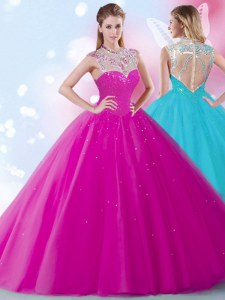 Free and Easy Scoop Fuchsia Sleeveless Floor Length Beading and Sequins Zipper Quinceanera Gown
