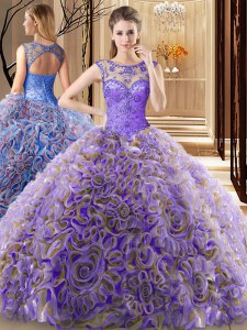 On Sale Scoop Sleeveless Beading Lace Up Quinceanera Dress with Multi-color Brush Train