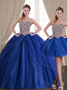 Three Piece Royal Blue Sleeveless Tulle Lace Up Quinceanera Gowns for Military Ball and Sweet 16 and Quinceanera