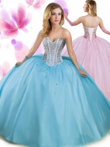 Aqua Blue Lace Up Sweetheart Beading 15 Quinceanera Dress Tulle Sleeveless