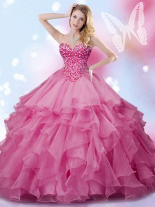 Rose Pink 15th Birthday Dress Military Ball and Sweet 16 and Quinceanera and For with Beading Sweetheart Sleeveless Lace Up